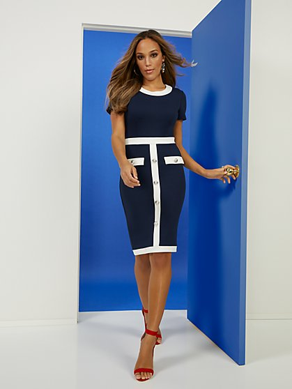 Piped Nautical Sheath Ponte Dress - Superflex - New York & Company