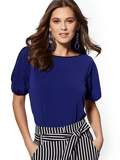 Piped Pleated-Sleeve Top - 7th Avenue - New York & Company