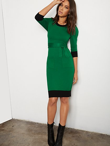 Piped Sweater Sheath Dress - 7th Avenue - New York & Company