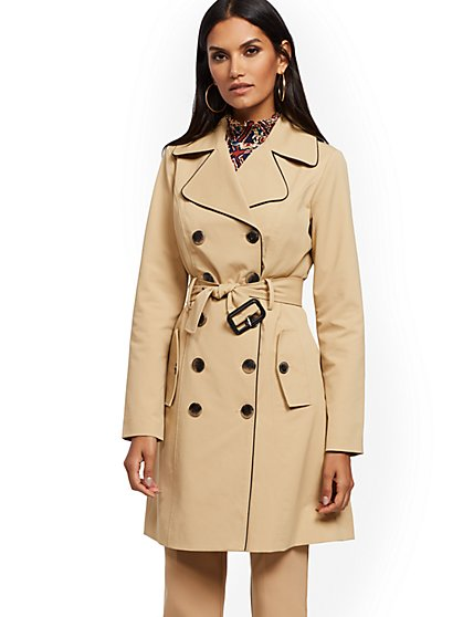 Piped Trench Coat - 7th Avenue - New York & Company