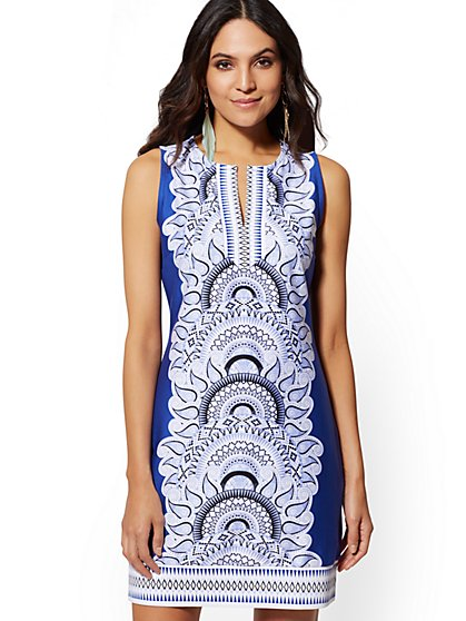 Placed-Print Cotton Shift Dress - New York & Company