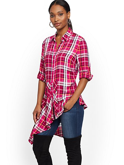 Plaid Asymmetrical-Hem Tunic Shirt - New York & Company