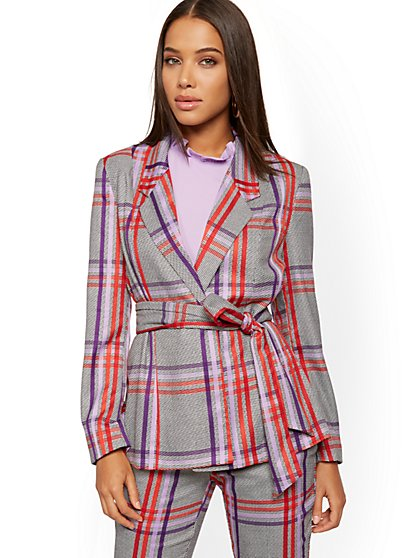 Plaid Belted Blazer - 7th Avenue - New York & Company