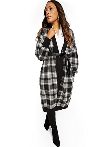 Plaid Belted Cardigan Sweater - New York & Company
