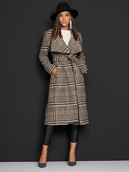 Plaid Belted Flyaway Trenchcoat - New York & Company