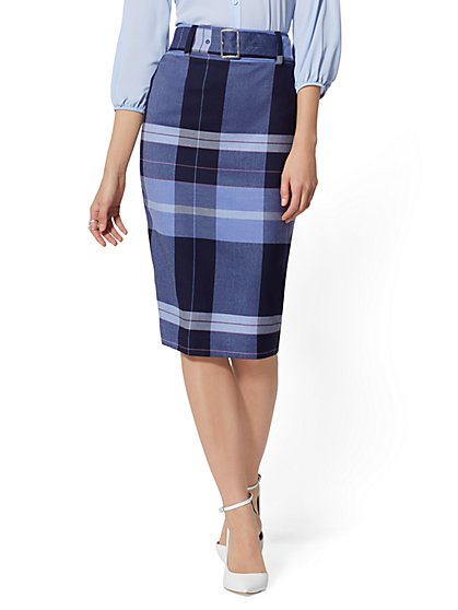 Plaid Belted Pencil Skirt - 7th Avenue - New York & Company