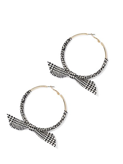 Plaid Bow-Accent Hoop Earring - New York & Company