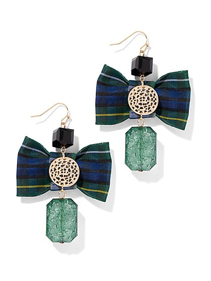 Plaid Bow-Accent Linear Drop Earring - New York & Company