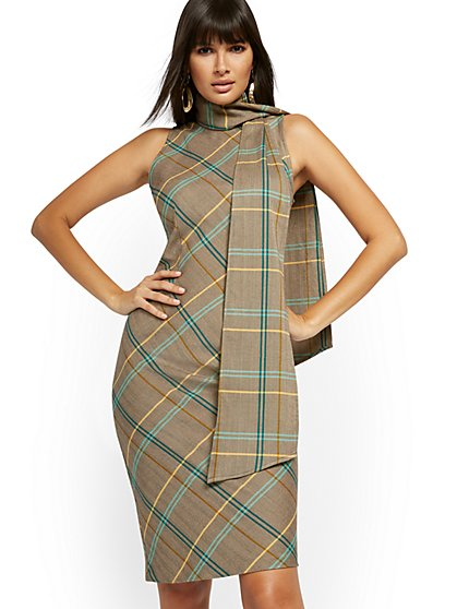 Plaid Bow-Accent Sheath Dress - New York & Company