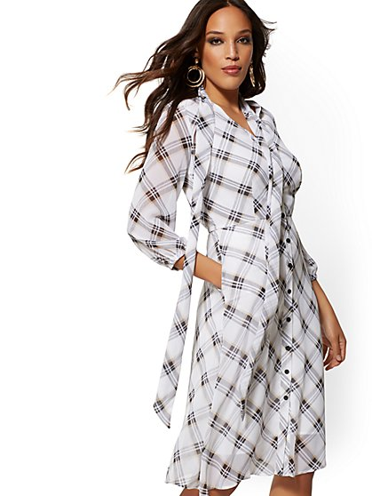 Plaid Bow-Accent Shirtdress - New York & Company
