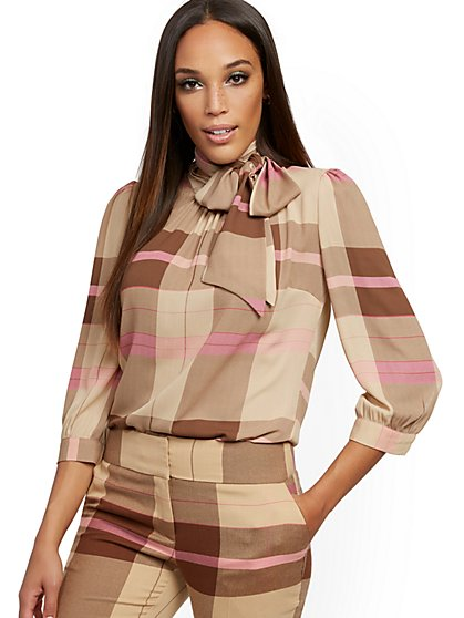 Plaid Bow Blouse - 7th Avenue - New York & Company