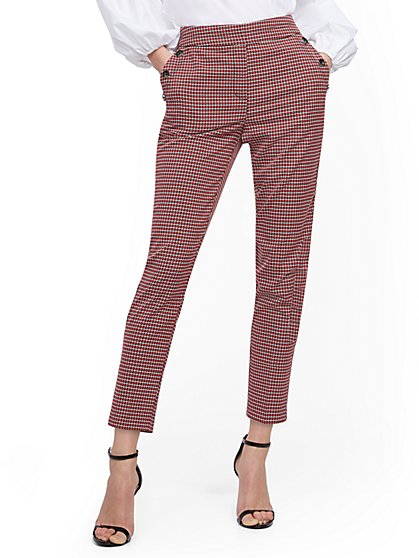Plaid Button-Accent Modern Ankle Pant - 7th Avenue - New York & Company