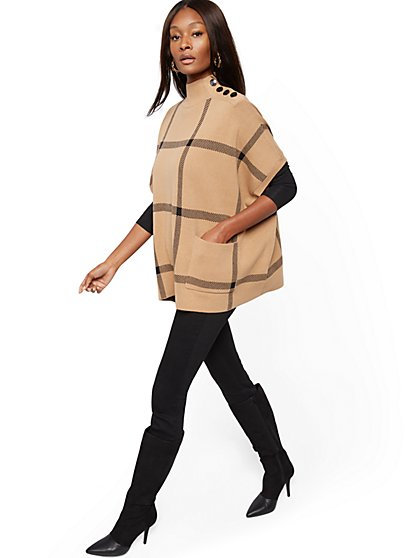 Plaid Button-Accent Poncho - New York & Company