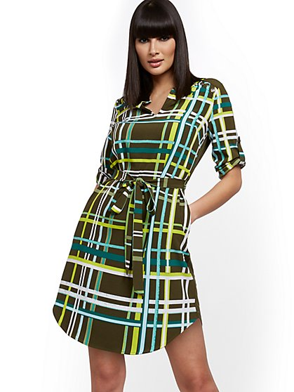 Plaid Button-Accent Shirtdress - New York & Company