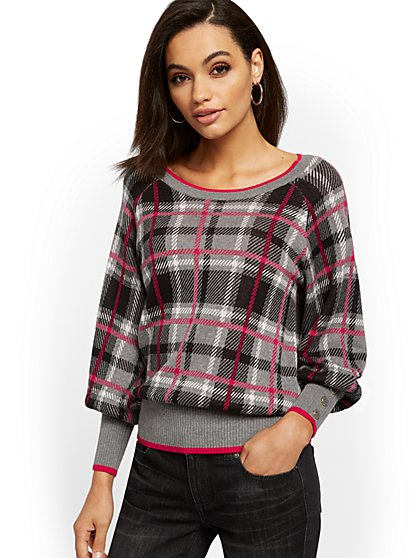 Plaid Button-Accent Sweater - New York & Company