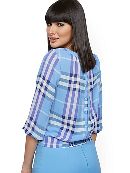 Plaid Button-Back Blouse - 7th Avenue - New York & Company