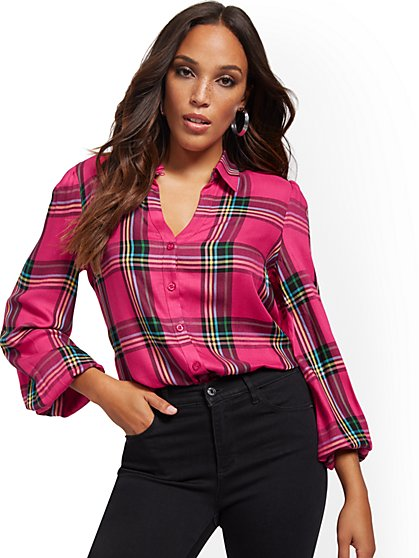 Plaid Button-Down Tie-Front Shirt - New York & Company