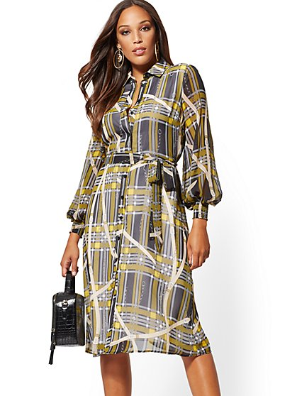 Plaid Chiffon Midi Shirtdress - New York & Company