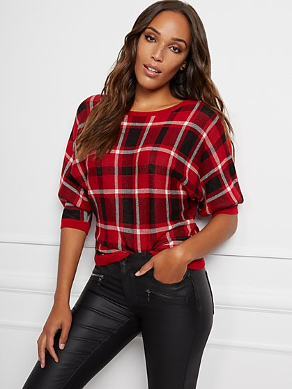 Plaid Dolman Sweater - New York & Company