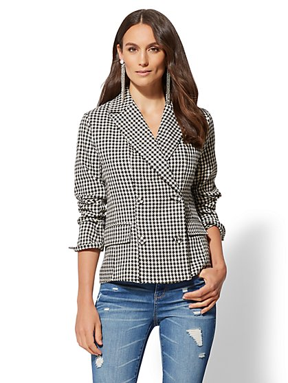 Plaid Double-Breasted Blazer - 7th Avenue - New York & Company
