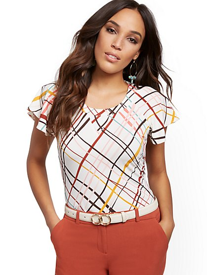 Plaid Flutter-Sleeve Top - 7th Avenue - New York & Company