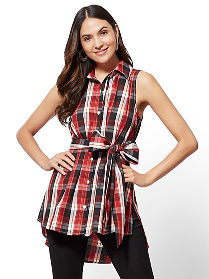 Plaid Hi-Lo Tunic Shirt - New York & Company
