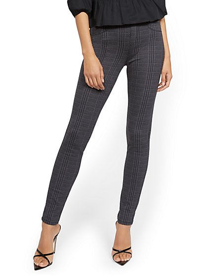 Plaid High-Waisted Pull-On Legging - Ponte - New York & Company