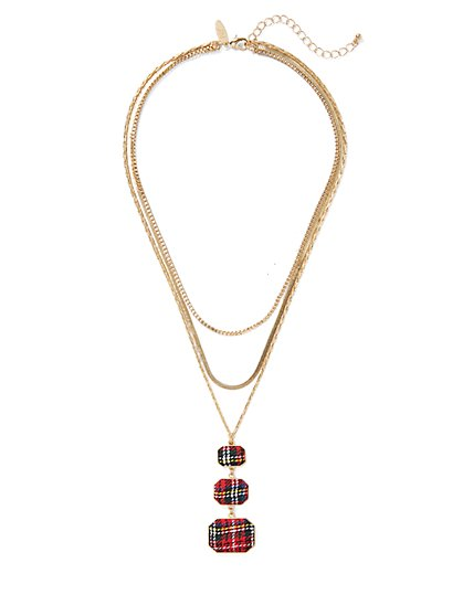 Plaid Layered Pendant Necklace - New York & Company
