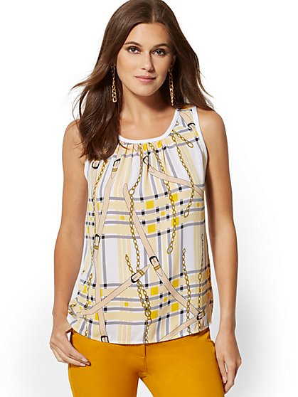 Plaid & Link-Print Knit & Woven Top - New York & Company