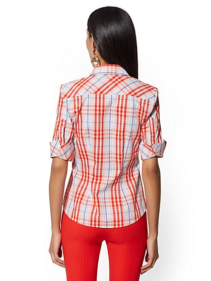 dfebc75bfd8596 ... Plaid Madison Stretch Shirt - 7th Avenue - New York & Company
