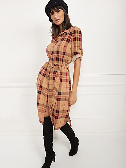 Plaid Midi Shirtdress - New York & Company