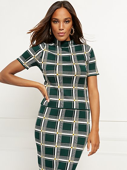 Plaid Mock-Neck Top - 7th Avenue - New York & Company