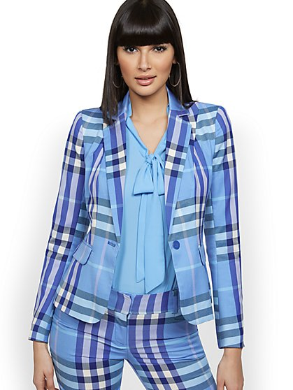 Plaid One-Button Jacket - 7th Avenue - New York & Company