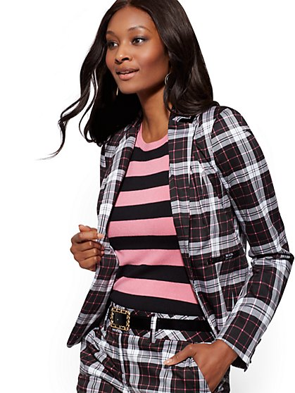 Plaid One-Button Jacket - Modern Fit - 7th Avenue - New York & Company