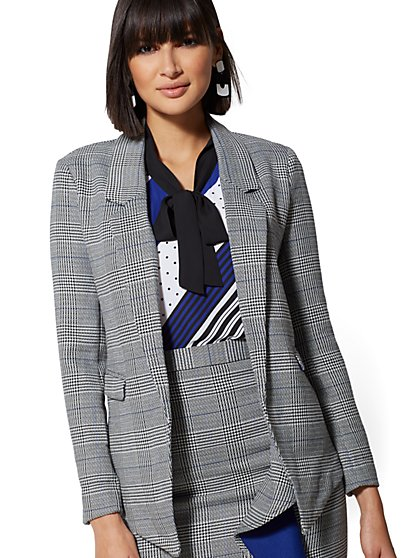 Plaid Open-Front Blazer - 7th Avenue - New York & Company