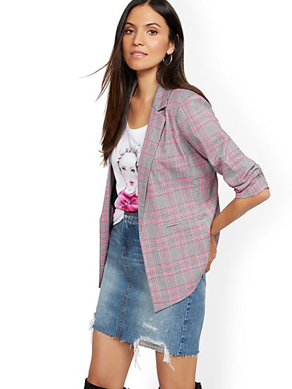 Plaid Open-Front Blazer - New York & Company