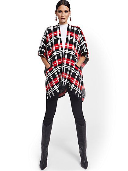 Plaid Open-Front Coatigan - New York & Company