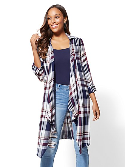 Plaid Open-Front Maxi Shirt - New York & Company