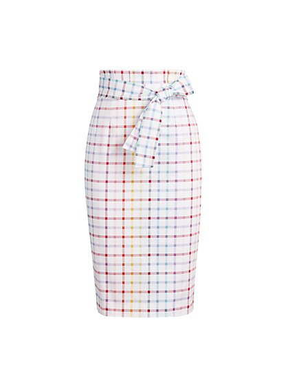 Plaid Paperbag-Waist Pencil Skirt - 7th Avenue - New York & Company