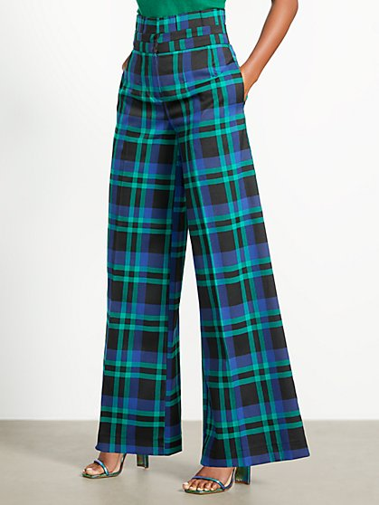 Plaid Paperbag-Waist Wide-Leg Pant - 7th Avenue - New York & Company
