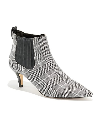 Plaid Pointed-Toe Bootie - New York & Company
