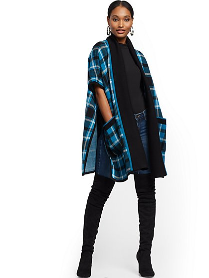 Plaid Poncho Cardigan - New York & Company