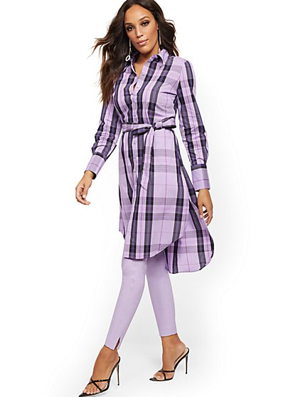 Plaid Poplin Tunic Shirt - 7th Avenue - New York & Company