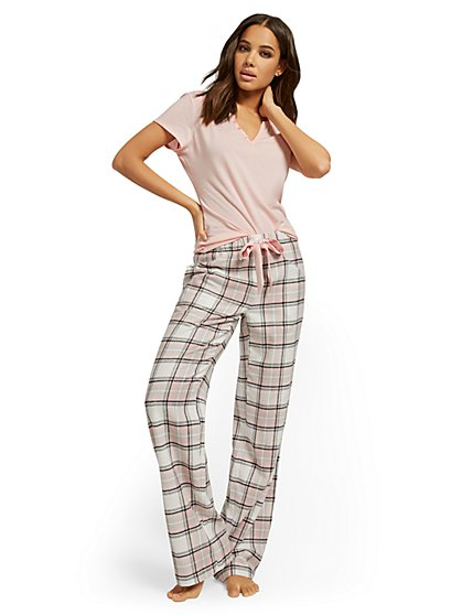 Plaid-Print Pajama Set - New York & Company