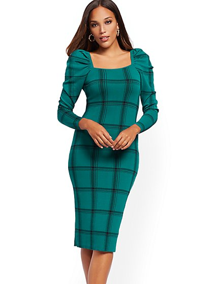 Plaid Puff-Sleeve Sweater Sheath Dress - New York & Company