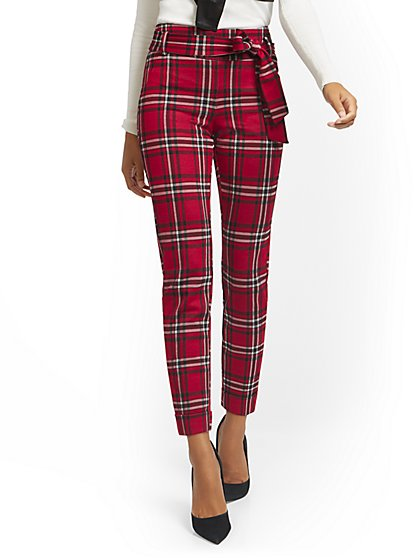 Plaid Pull-On Slim-Leg Pant - Superflex - New York & Company