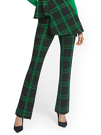 Plaid Pull-On Straight-Leg Ponte Knit Pant - Superflex - New York & Company