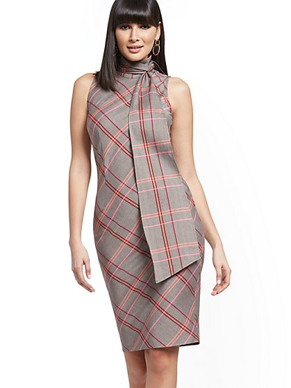 Plaid Scarf-Accent Sheath Dress - New York & Company