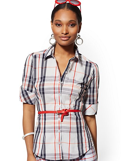 Plaid Short-Sleeve Madison Stretch Shirt - 7th Avenue - New York & Company