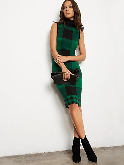 Plaid Sweater Sheath Dress - 7th Avenue - New York & Company